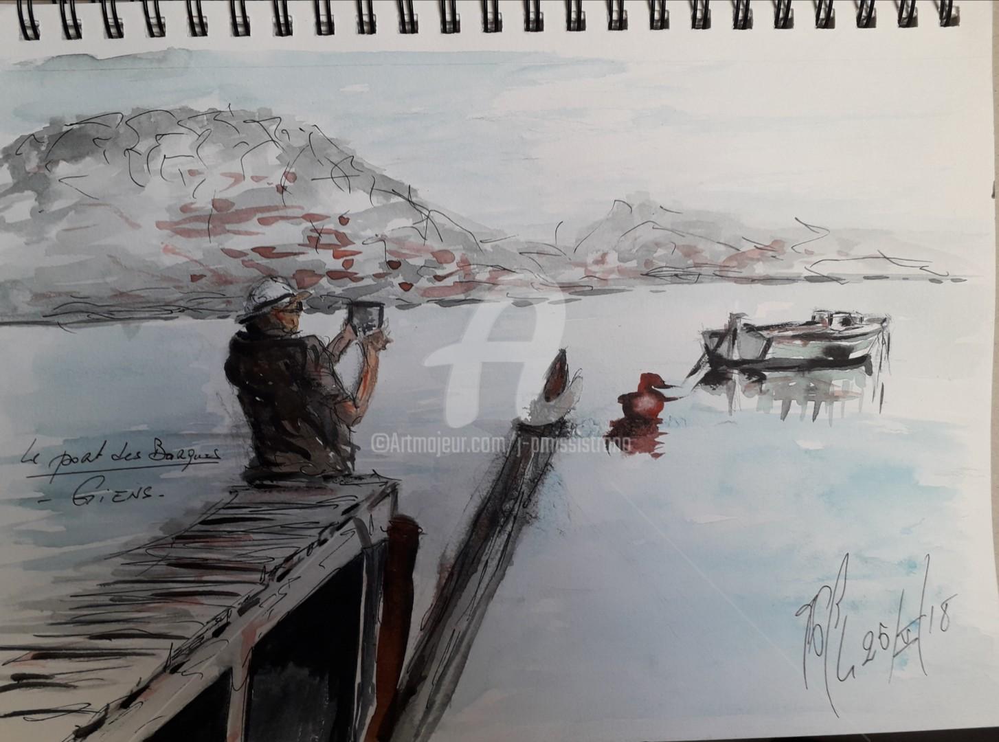 """Jean-Pierre Missistrano - """"Le port des Barques"""", à Giens."""
