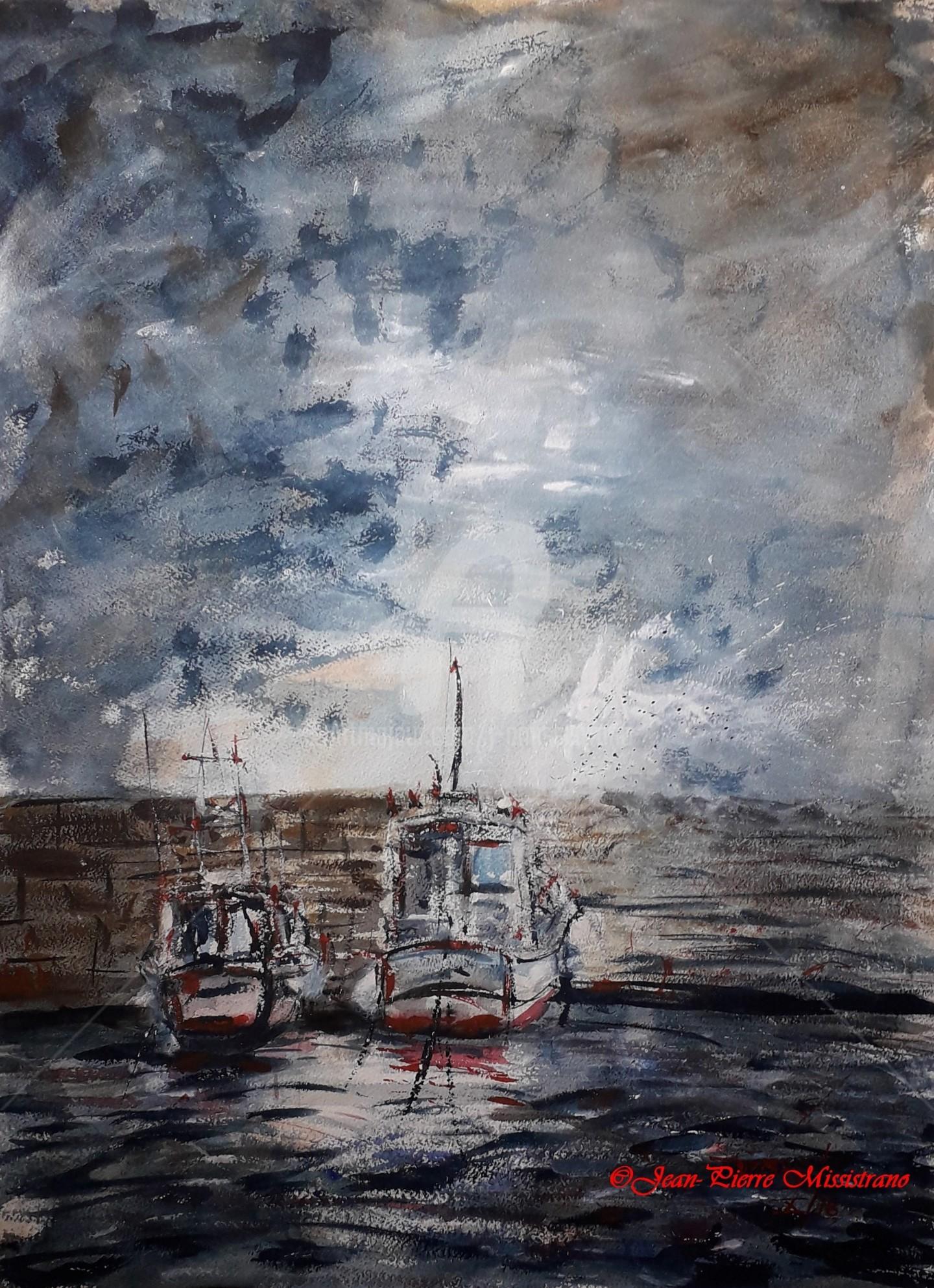 "Jean-Pierre Missistrano - ""Soir d'orage sur le port"""