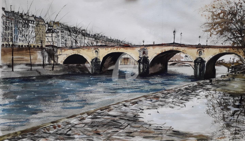 """Jean-Pierre MISSISTRANO - """"La flaque, du Pont Marie"""""""