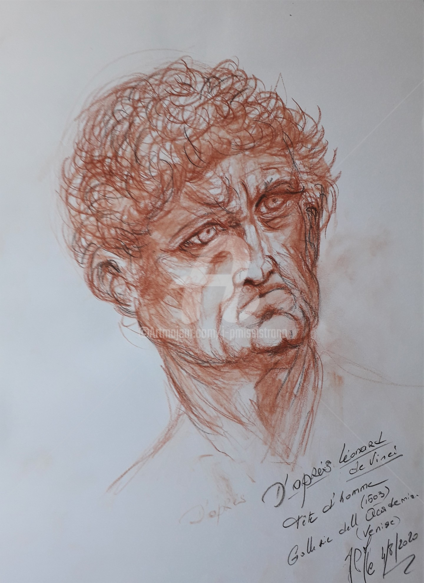 "Jean-Pierre Missistrano - Etude ""Tête d'homme"", da Vinci"