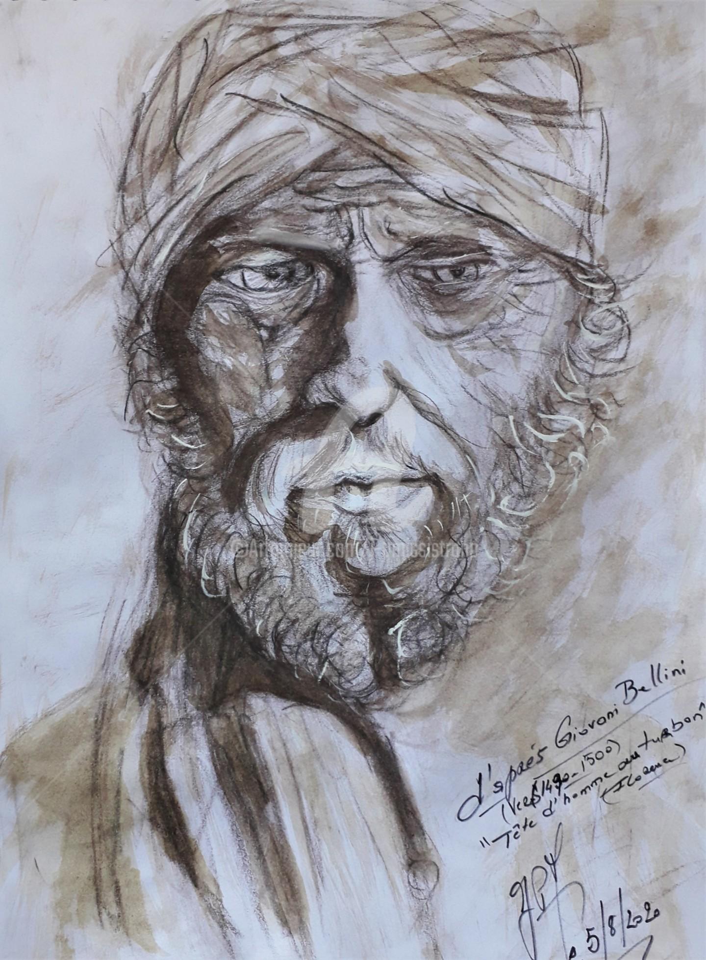 """Jean-Pierre Missistrano - Etude """"Tête d'homme au turban"""". G. Bellini"""