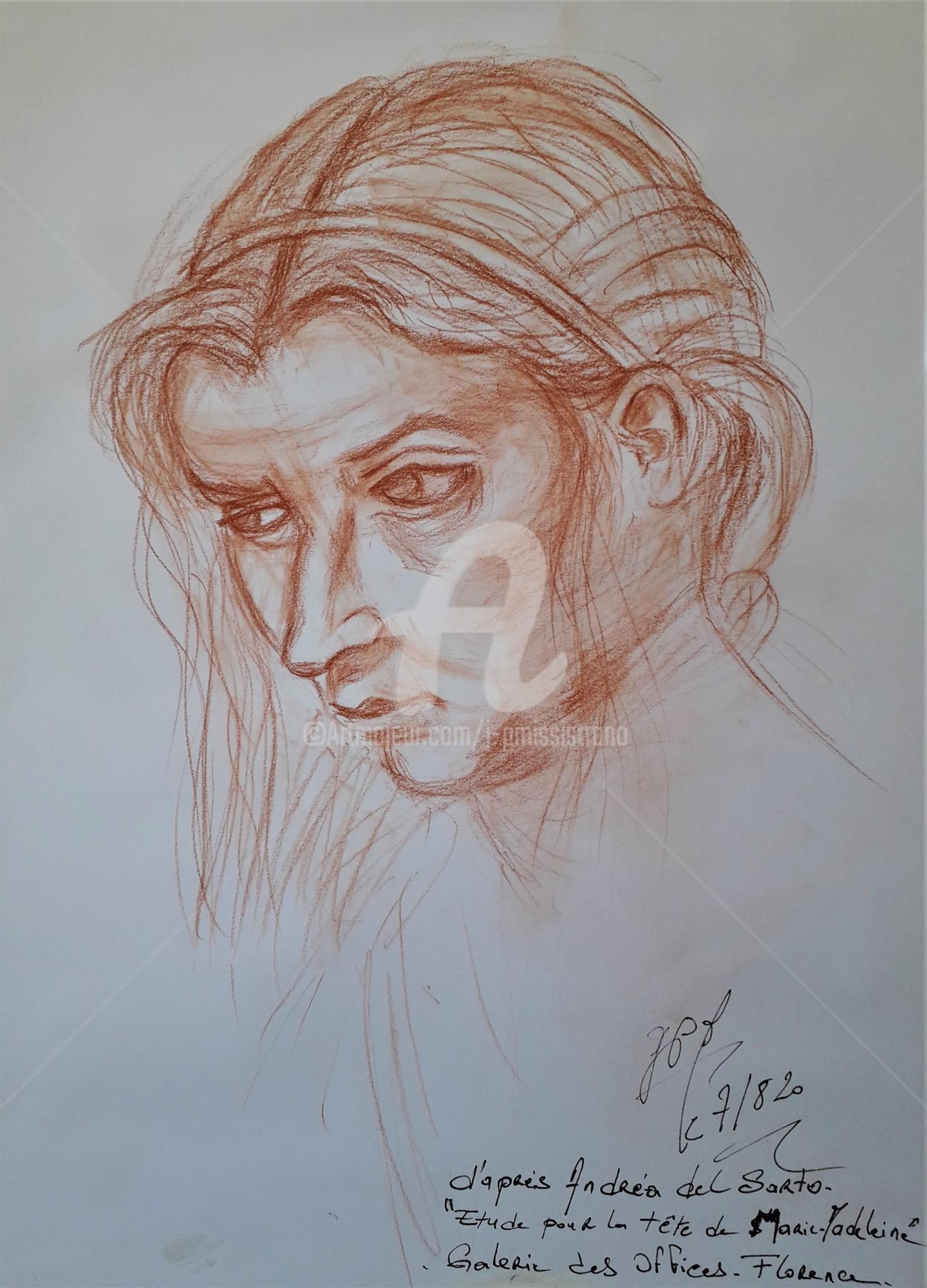 "Jean-Pierre Missistrano - Etude ""Tête de Marie-Madeleine"", d'après Andréa del Sarto"